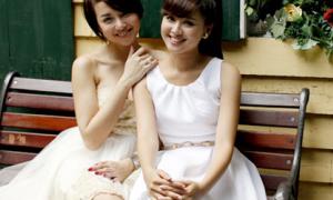 Tâm Tít - Ngọc Diệp đọ váy trắng