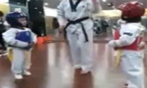 Cười nắc nẻ xem võ sĩ nhí đấu Taekwondo