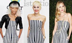 Miley Cyrus đụng hàng cả 3 mẫu jumpsuit