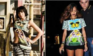 Minzy (2NE1) xé áo tạo sự khác biệt với Rihanna