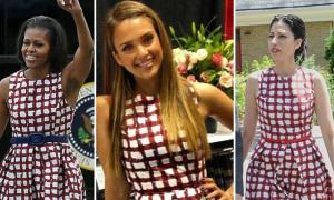 Jessica Alba diện váy 2 năm trước của phu nhân Tổng thống