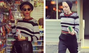 Mát trời, Beyonce - Miley cùng diện sweaters thổ cẩm