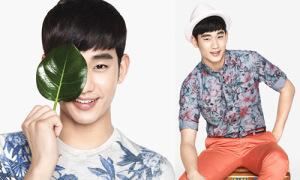 Kim Soo Hyun diện áo hoa, quần neon rực rỡ chào hè