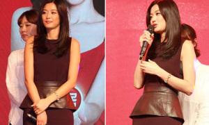 Hot or not: Jun Ji Hyun đeo thắt lưng to làm điệu cho váy trơn