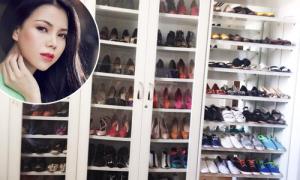 Tủ giày hàng trăm đôi gây choáng váng của Trà Ngọc Hằng