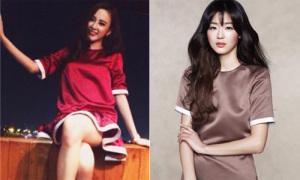 Phương Trinh bắt chước Jun Ji Hyun diện váy loa kèn