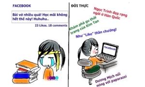 Sự khác biệt giữa đời thực và trên Facebook