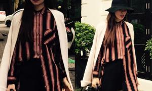 Hot or not: Hồ Ngọc Hà theo mốt cắm thùng áo bên ngắn bên dài