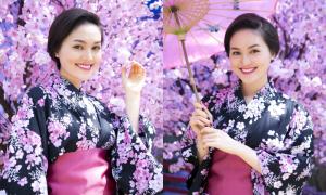 Hye Trần diện kimono xinh yêu không thua kém girl Nhật