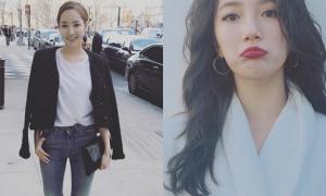 Sao Hàn 1/3: Suzy bĩu môi bày trò, Park Min Young khoe street style
