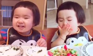 Video cô bé liên tục đút thức ăn vào miệng gây tranh cãi