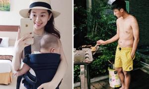 Sao Việt 24/8: Ly Kute địu con đi chơi, Mạc Hồng Quân nấu ăn giúp vợ