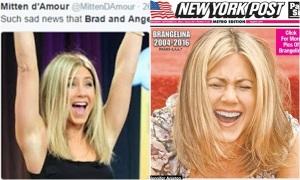 Báo Mỹ đăng hình Jennifer Aniston cười lớn cạnh tin Brangelina ly hôn