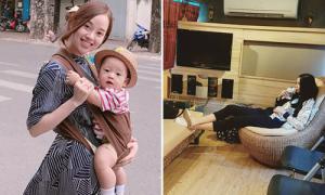 Sao Việt 20/10: Ly Kute địu con đi làm, Thanh Hằng ngồi xế hộp to như căn nhà