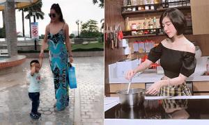 Sao Việt 24/10: Phi Thanh Vân mặc sexy đưa con trai đi chơi, Elly Trần dịu dàng vào bếp