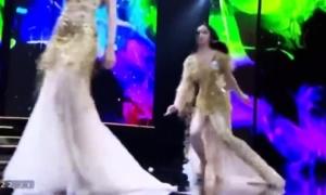 Thí sinh Hoa hậu Hoàn vũ vấp ngã liên tục trên sân khấu
