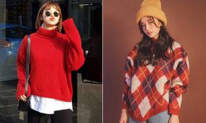 6 kiểu áo len đặc trưng mùa đông của con gái Hàn