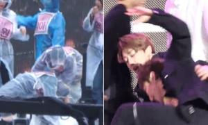 Loạt idol Hàn ngã dúi dụi vì sân khấu đầy nước trơn trượt
