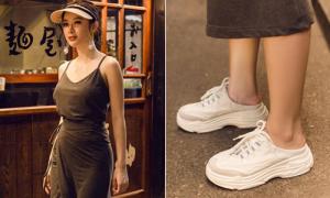 Angela Phương Trinh lăng xê mốt đạp gót giày 'vừa đi vừa phá'