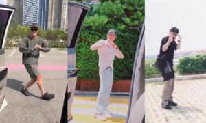 Thần tượng Hàn đọ vũ đạo với thử thách 'lao ra khỏi xe rồi nhảy'