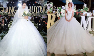 Cuộc chiến váy cưới cầu kỳ, tốn vải của các mỹ nhân Việt