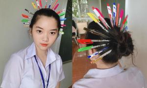 Teen phát sốt với thử thách 'Quý phi bút bi' trường học