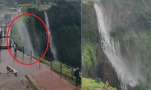 'Thác nước chảy ngược' có một không hai ở Ấn Độ