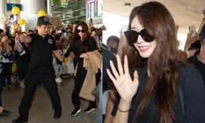 Ji Yeon diện cây đen chất gây 'náo loạn' ở sân bay TP HCM