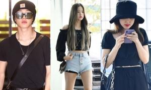 BTS đồng loạt diện cây đen, Twice - IZONE đọ sắc ở sân bay