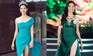 Hoa hậu Lương Thùy Linh thích khoe chân với đầm xẻ đùi cao vút