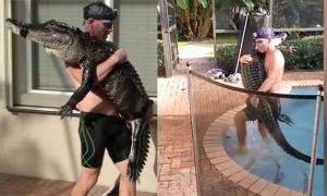 Nhân viên cứu hộ ôm cá sấu như 'em bé'