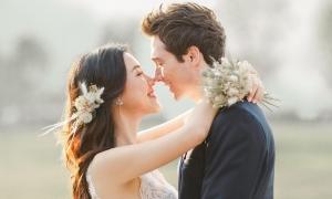 Ảnh cưới ngọt ngào của Hoàng Oanh và chồng Tây
