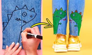 Cách làm mới đồ jeans bằng sơn vẽ trên vải