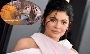 Kylie Jenner khóc thương động vật chết cháy rồi khoe dép lông chồn