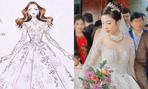Váy cưới đắt đỏ đẹp như trời sao của vợ Phan Văn Đức
