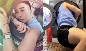 Hậu trường pose ảnh 'chẳng dễ ăn' với máy giặt