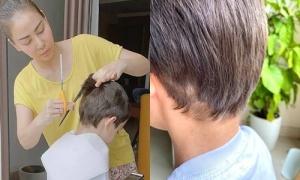Sao Việt cắt tóc cho chồng con giữa Covid-19