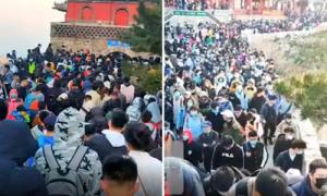 Du khách Trung Quốc chen chúc lên núi bất chấp giãn cách xã hội