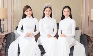 Tiểu Vy cùng dàn người đẹp diện áo dài trắng