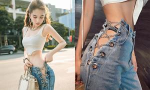 Ngọc Trinh tiên phong mốt quần jeans cắt hông 'thách thức nội y'