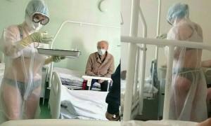 Diện 'bikini trong đồ bảo hộ' để ủng hộ y tá Nga