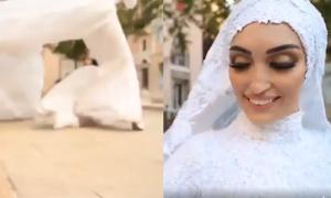 Cô dâu ôm váy chạy vì gặp nổ lớn khi chụp ảnh cưới