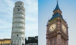 Tháp Pisa và Big Ben: Tháp nào nghiêng hơn?