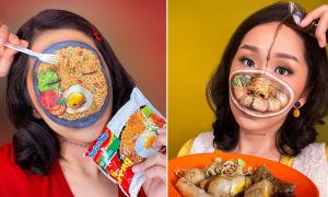 Cô gái 'bày tiệc đồ ăn' trên mặt với tài trang điểm đánh lừa thị giác