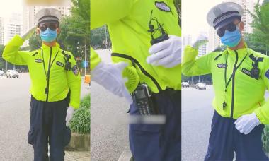 Cảnh sát giao thông lắp quạt mini chống nóng trong đồng phục
