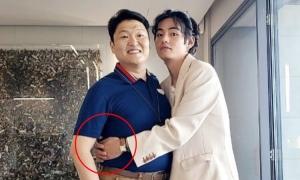 Mỹ nam BTS ôm ấp PSY, netizen ngỡ 'vợ bé nhỏ cạnh chồng'