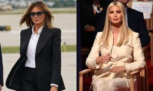 Outfit 'đen trắng đối lập' của Melania - Ivanka trong ngày Trump tranh luận