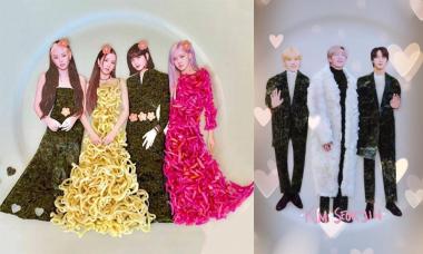 Black Pink, BTS diện trang phục sang chảnh làm từ đồ ăn