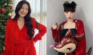 Idol Hàn đua nhau lên đồ đỏ rực đón Giáng sinh