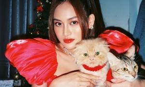Thùy Anh bớt cô đơn dịp Giáng sinh nhờ hai em mèo cưng